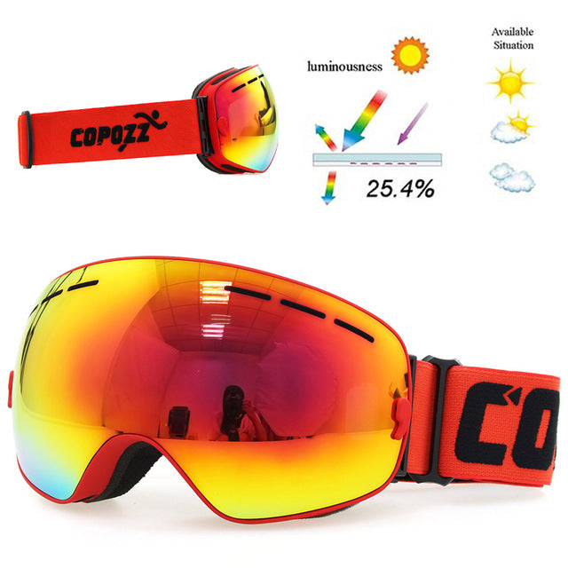 Ski goggles double layers UV400 anti-fog