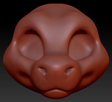 Gender Neutral Toony Round-nosed Dragon Head Base Variant 1