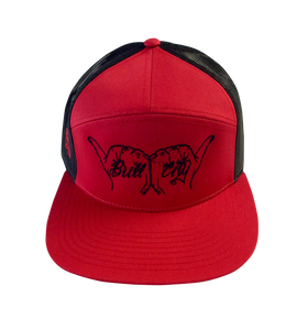 BullCity Fist  5-Panel  Mesh SnapBack (Red/Black)