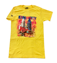 Load image into Gallery viewer, VINTAGE  BullCIty SkyLine Tee  (Yellow))