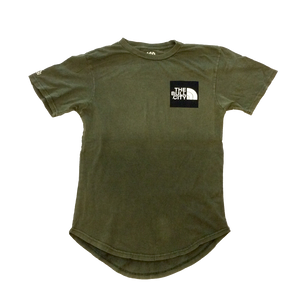The Bull City / City of Champions  long tail Tee( Vintage Olive Green)