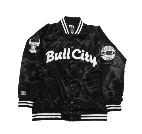 BULL CITY Draft Day Satin Jacket (Gloss Black)