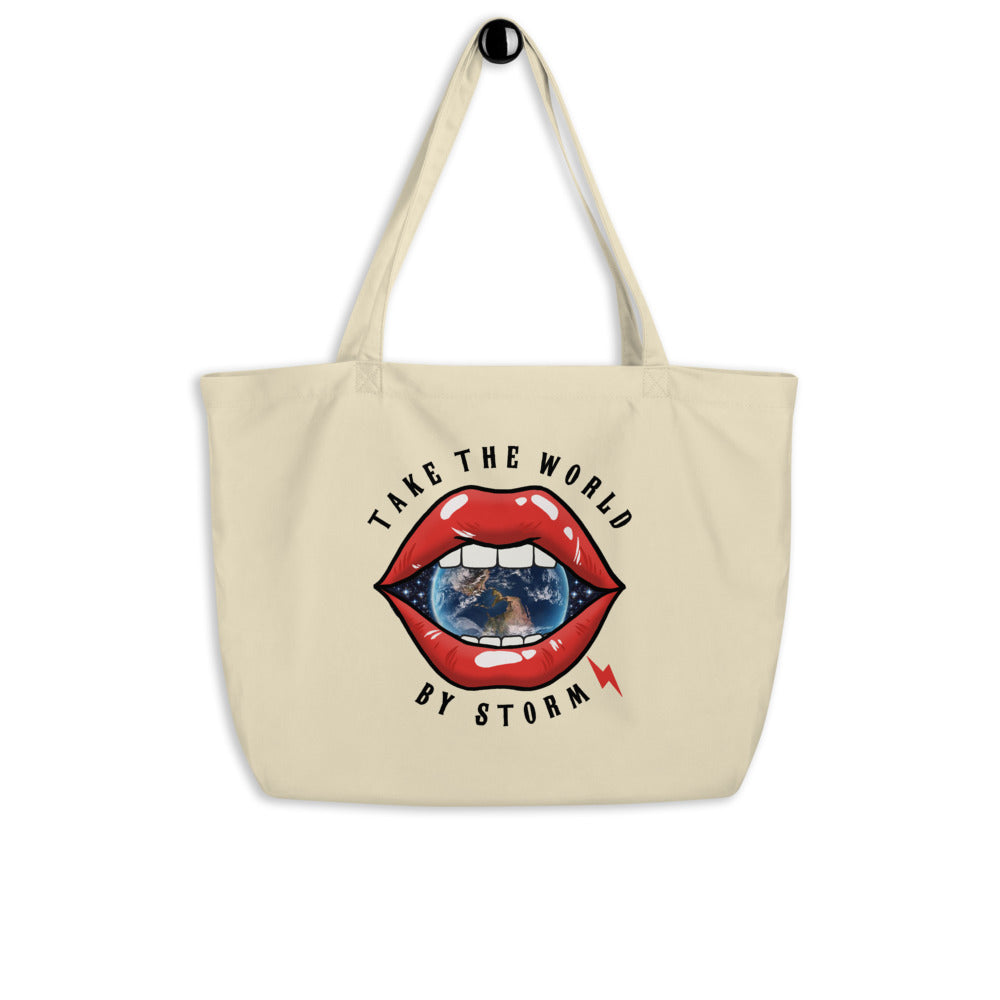TAKE THE WORLD BY STORM TOTE BAG- OYSTER