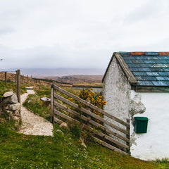 Rural Irish cottage and landscape