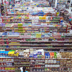 Aisles and aisles of supermarket products in plastic