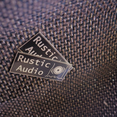 Rustic audio labels on fabric