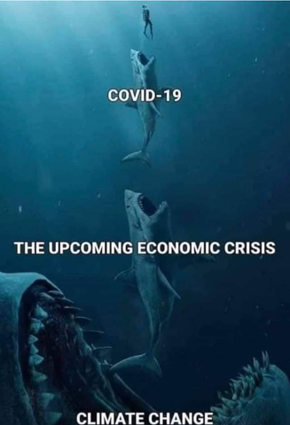 human, being eatern by Covid 19 shark, being eaten by a recession shark, being eaten by climate change shark