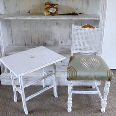 Small white table and chair shabby chic