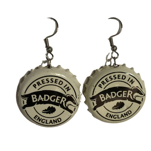 Bottle Top Earrings - Badger