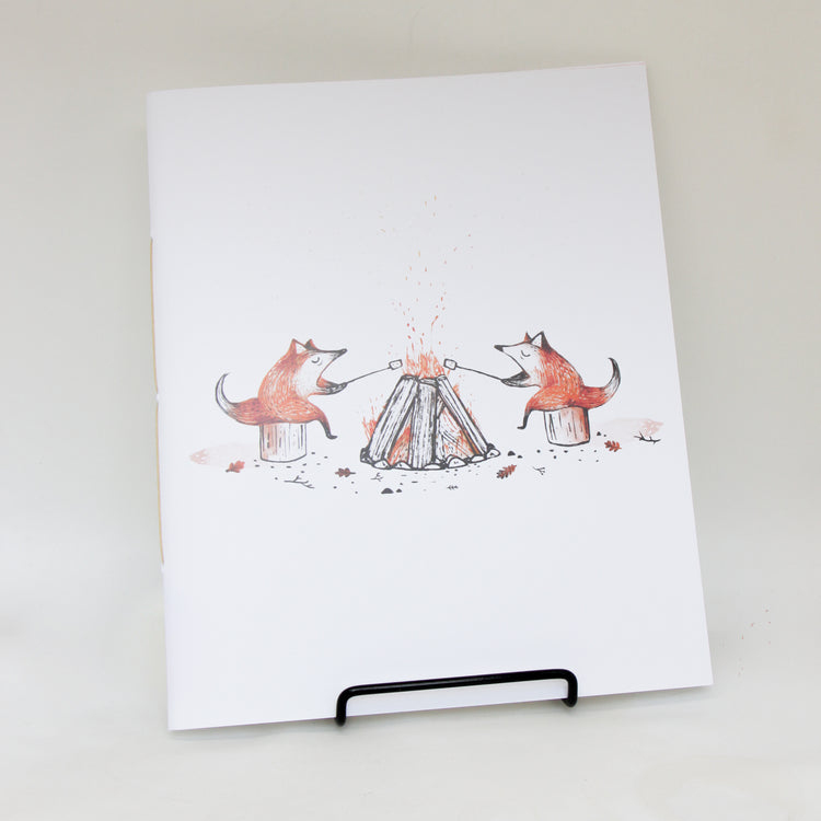 Carnet de notes grand format 'Feu de camp et renards'