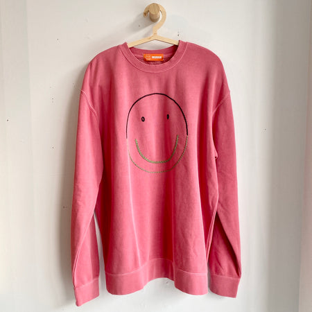 Pull coton ouaté 'Smiley' rose - Taille Grand
