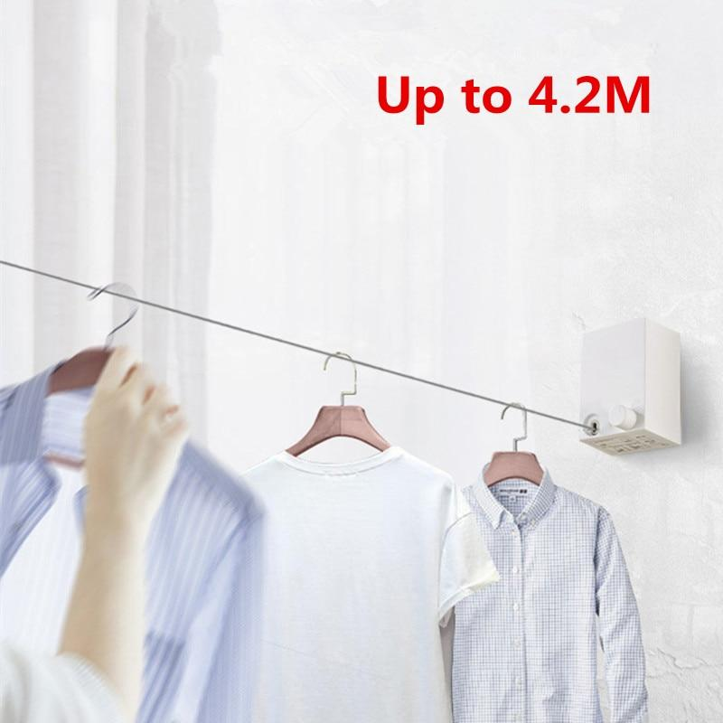 Retractable Clothes Wall Hanger Indoor Drying Rack Balcony Invisible Clothesline