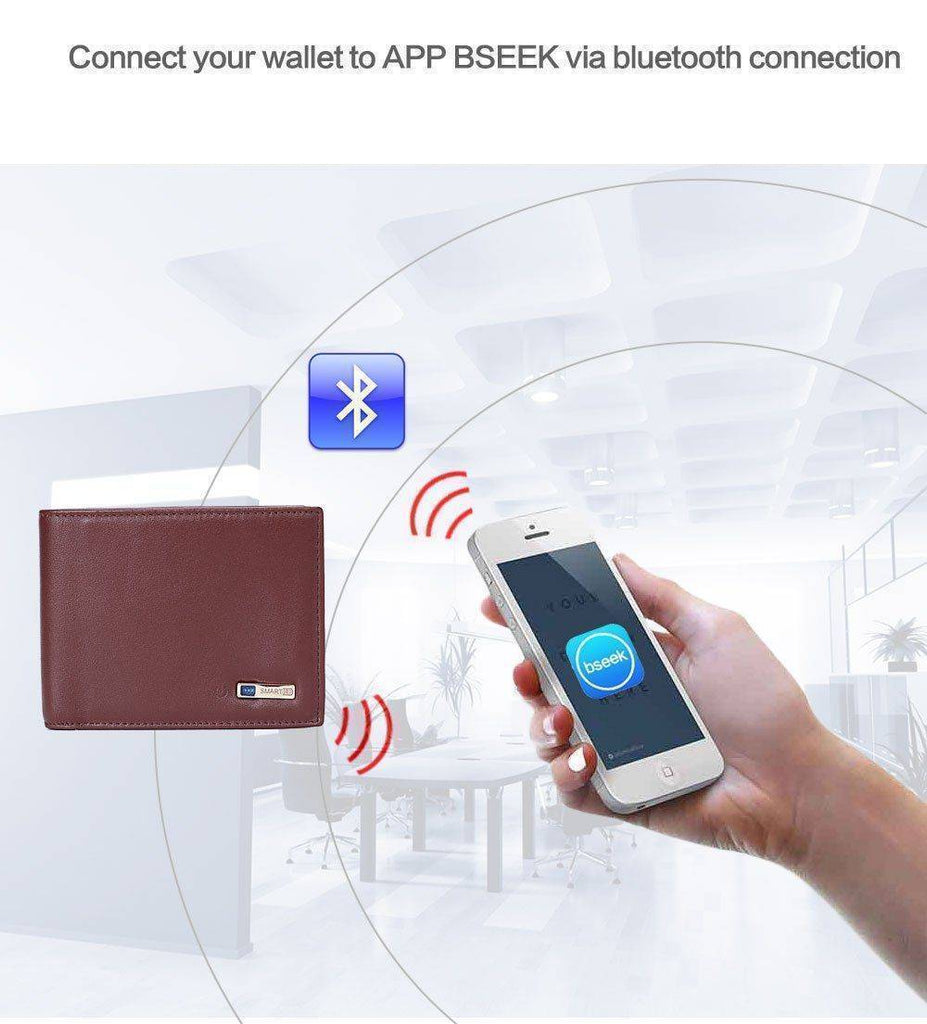 Wallet - Bluetooth Alarm - GPS Tracking - Smart - Leather