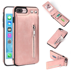 iPhone Zipper Leather Phone Case