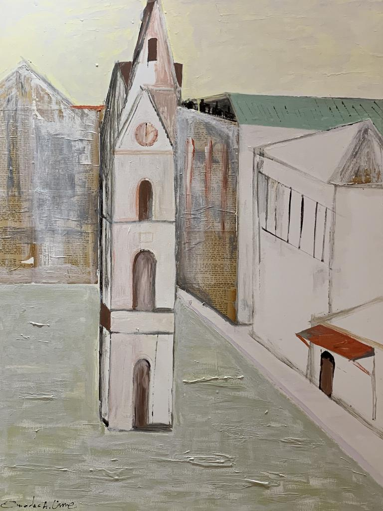 "Smadar Livne Fine Art ,07-2020 group  the clock tower Jaffa ,Original 36""x48"" mixed media on canvas"