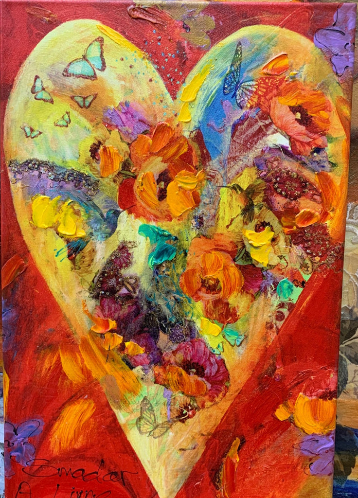 Heart Acrylic on Canvas Wall Art Flash Sale