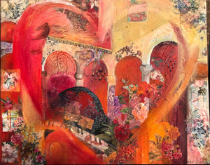 """CITRUS GROVE HEART"" 48"" x 60"" Acrylic mixed media on canvas"
