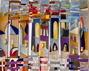 """Jerusalem"" Mixed Media on Canvas with Fabric & Clay (3 dimensional features) 48""H x 72""W"