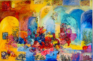 """Magnificent Garden"" Mixed Media on Canvas 48""H x 72""W"