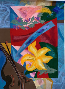 """Music for the Flower"" Handmade Felt Tapestry 70H x 49W"
