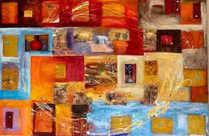 """Sunset"" Mixed Media on Canvas with Clay and Glass 48""H x 72""W (3 dimensional features)"