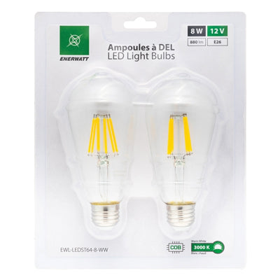 LED Light Bulb 12V 8W Warm White - 2pk