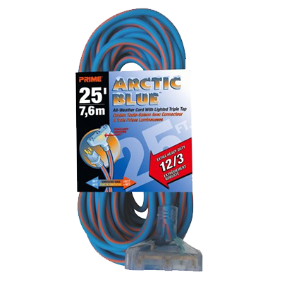 Ultra Heavy Duty 25-Foot Triple Tap Artic Blue All-Weather TPE Extension Cord
