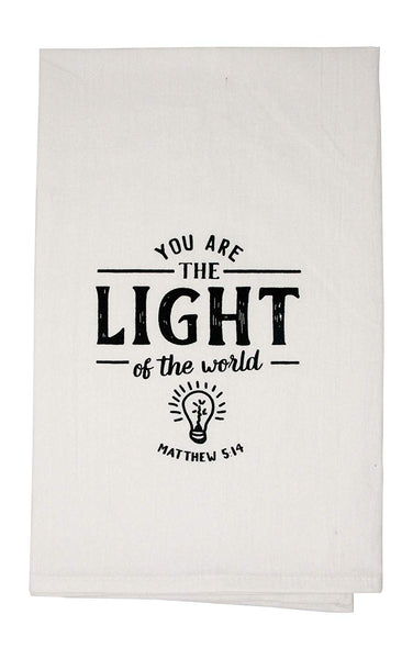 You are The Light of The World Matthew 5 Religious Funny Dishcloth Tea Towel Screen Printed Flour Sack Cotton Kitchen Table Linens
