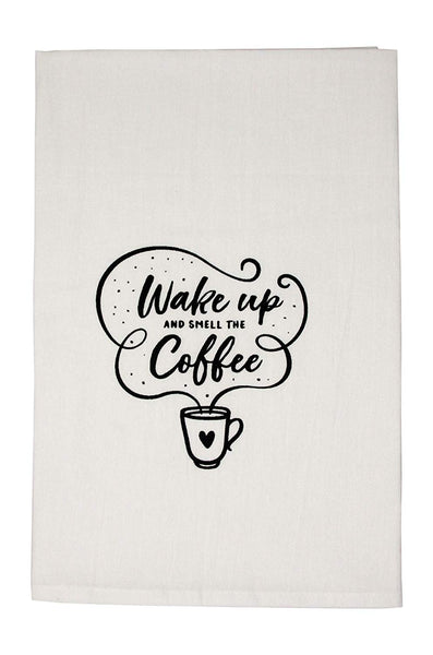 Wake Up And Smell The Coffee Flour Sack Kitchen Tea Towel