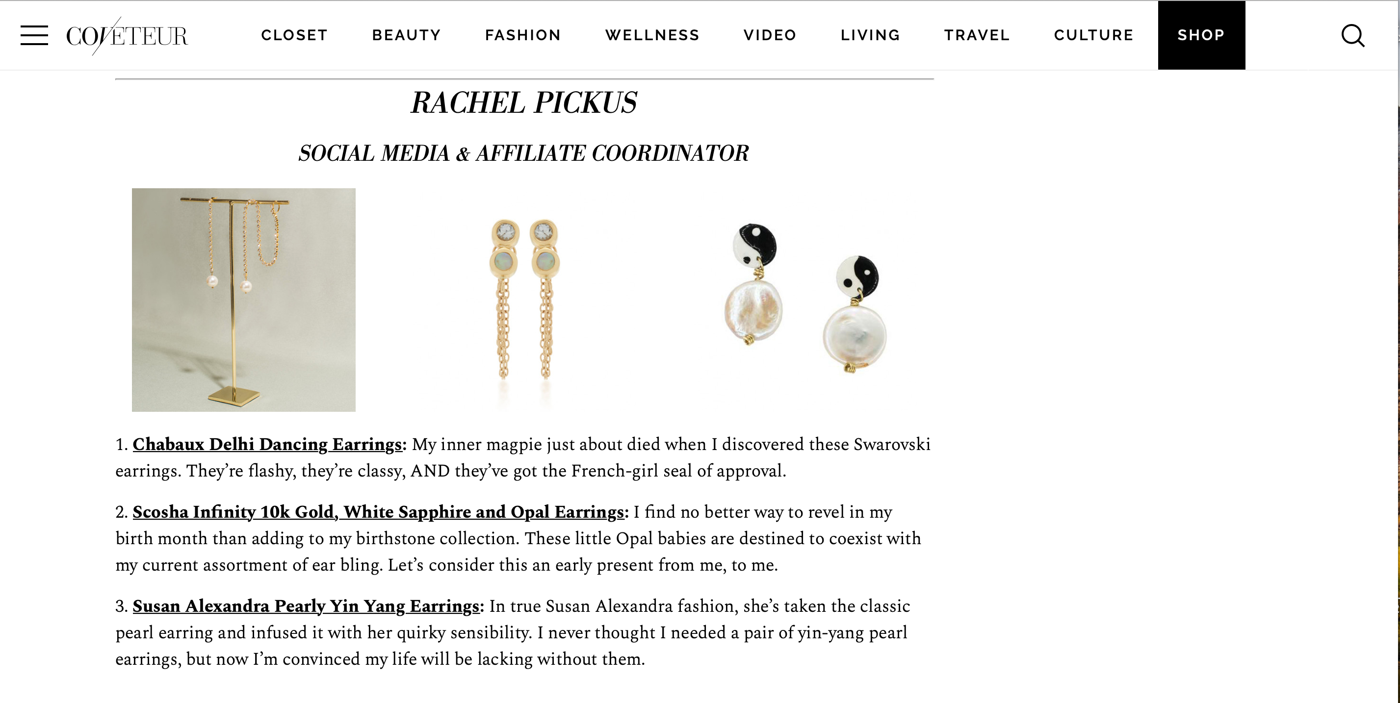 Yin Yang Earrings featured on Coveteur.com
