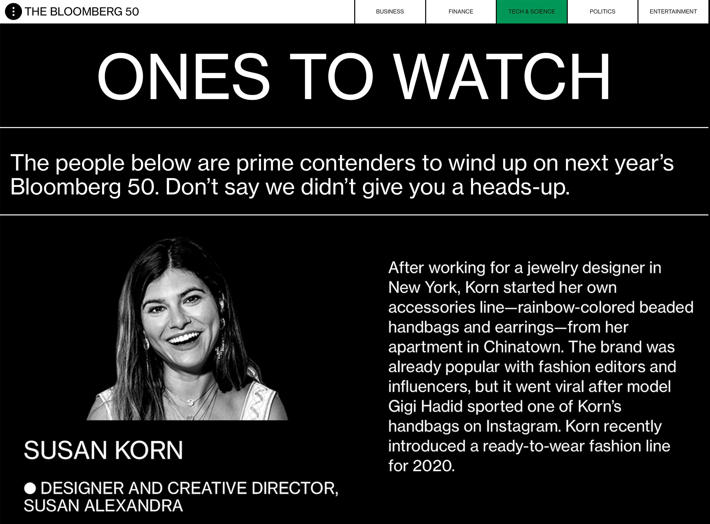 Susan Korn featured on Bloomberg's Ones to Watch