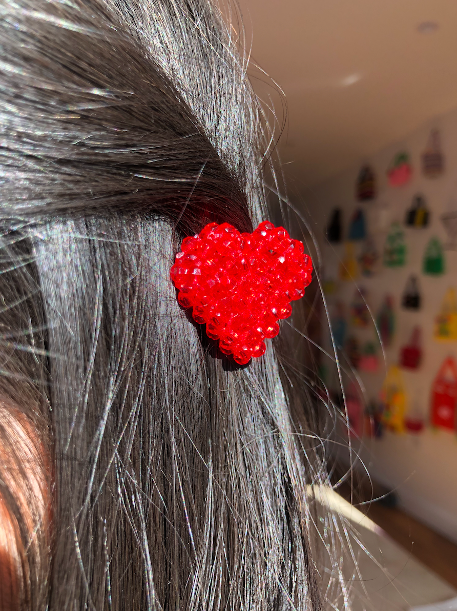Ruby Heart Barrette