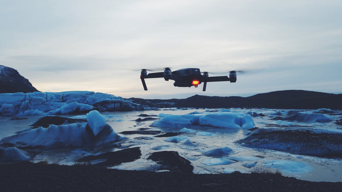 Cold weather drone over ice
