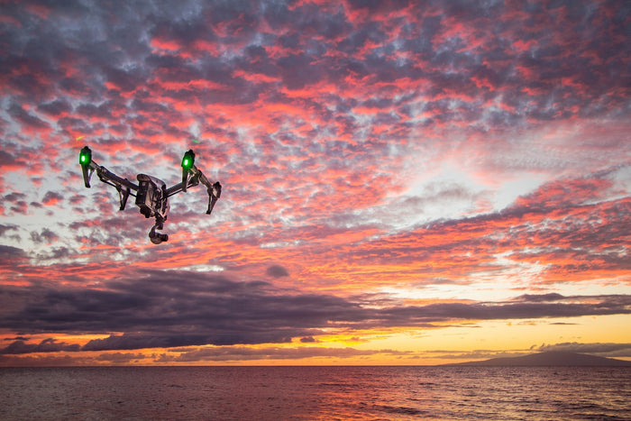 Drone in sunset