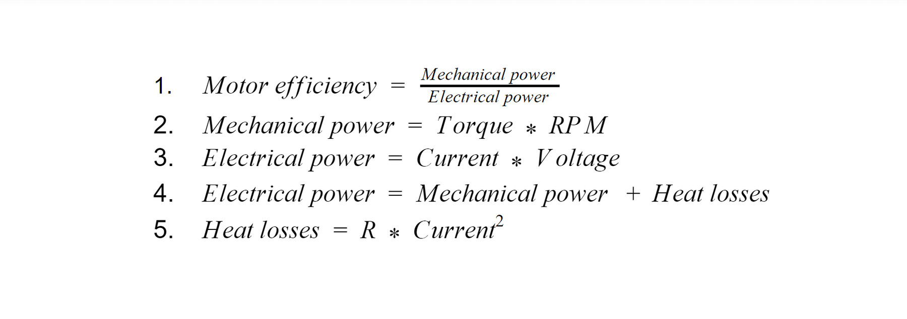 Brushless Motor Power and Efficiency Analysis
