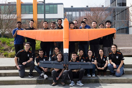 Drone team with fixed wing drone