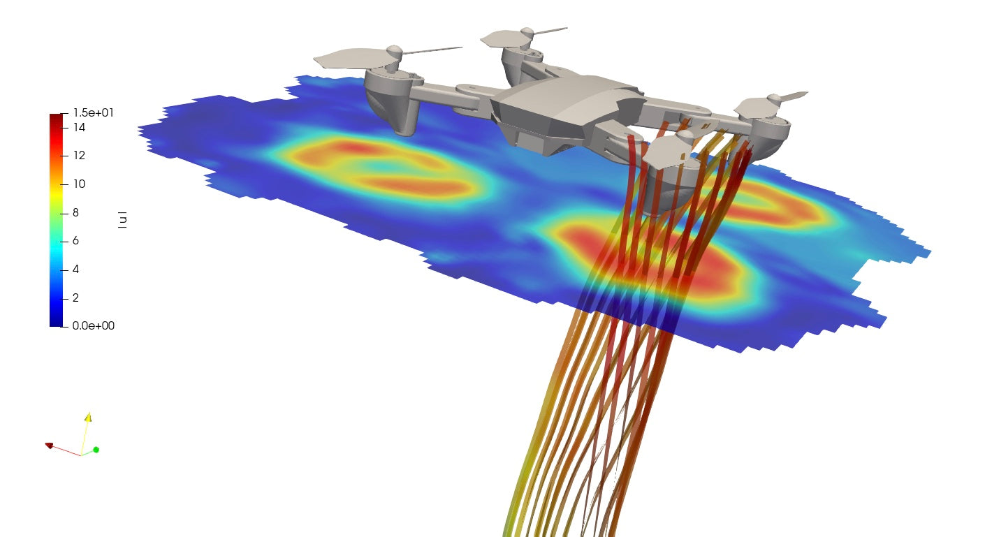 Drone evaluated with 3D flow topology system