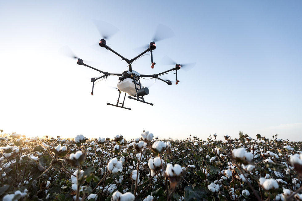 Agriculture drone flying over cotton field
