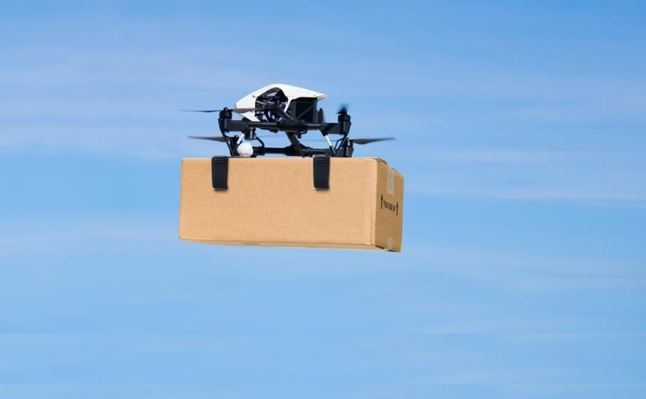 Small drone delivering package