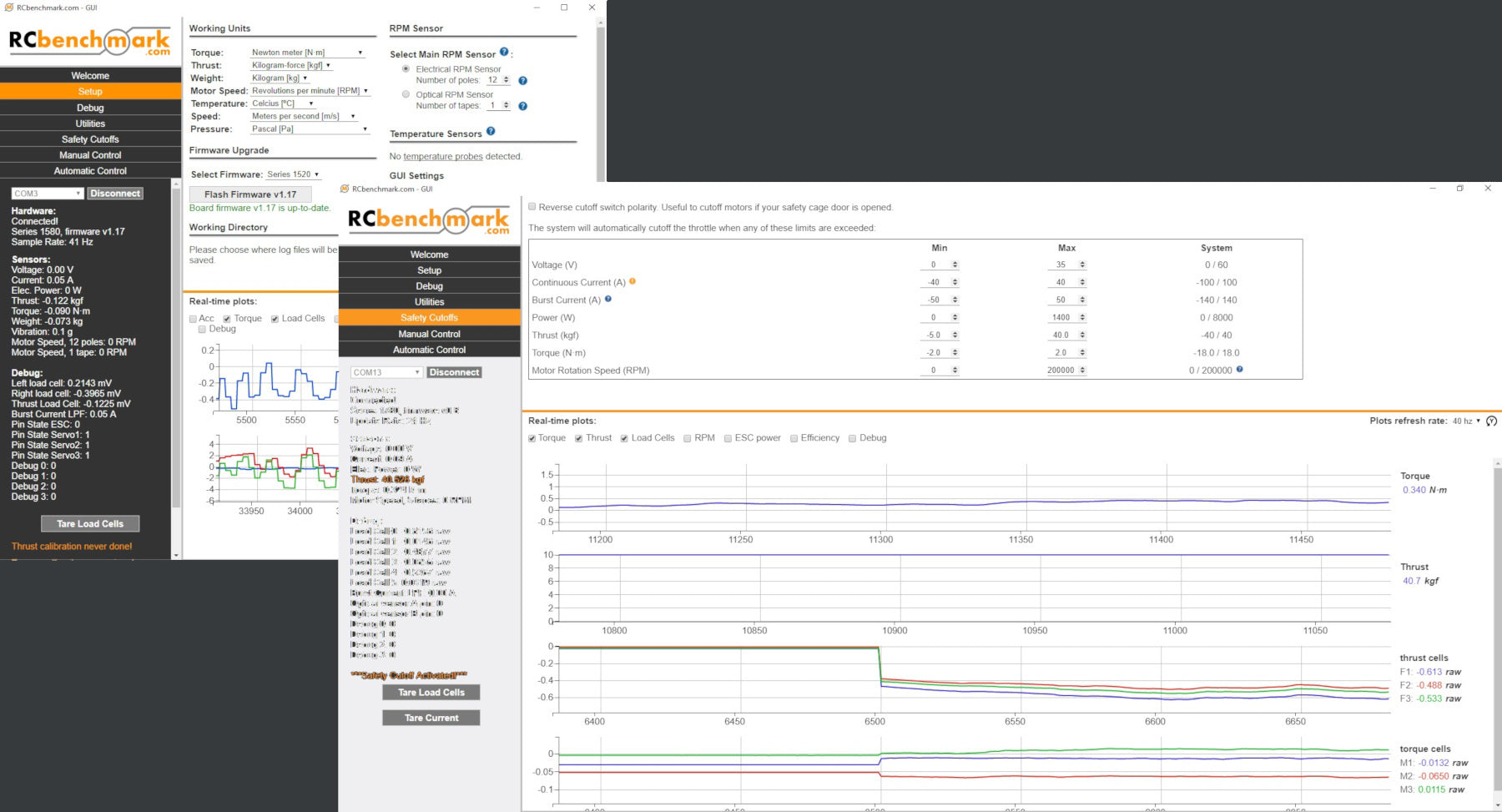 Screen shot of propulsion data acquisition software