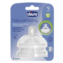 Load image into Gallery viewer, Chicco Natural Feeling Silicone Teat - 4m+ Adjustable Flow 2pk