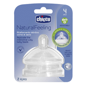 Chicco Natural Feeling Silicone Teat - 4m+ Adjustable Flow 2pk