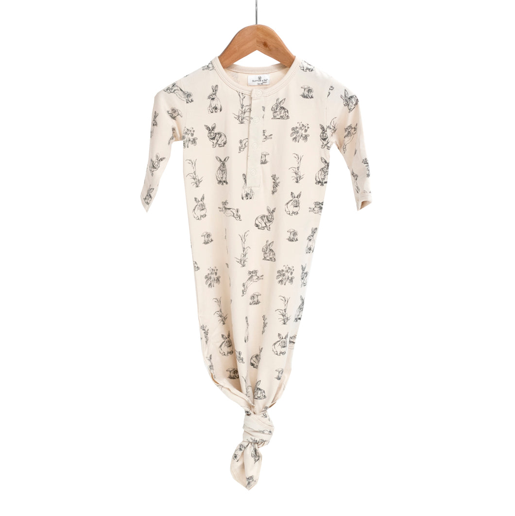 Burrow & Be Baby Sleep Gown - Almond Burrowers Print (0-3 months)