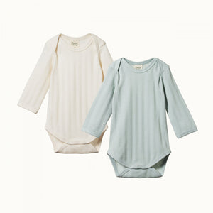 Nature Baby 2 Pack Derby Long Sleeve Bodysuits (Natural/Sea)