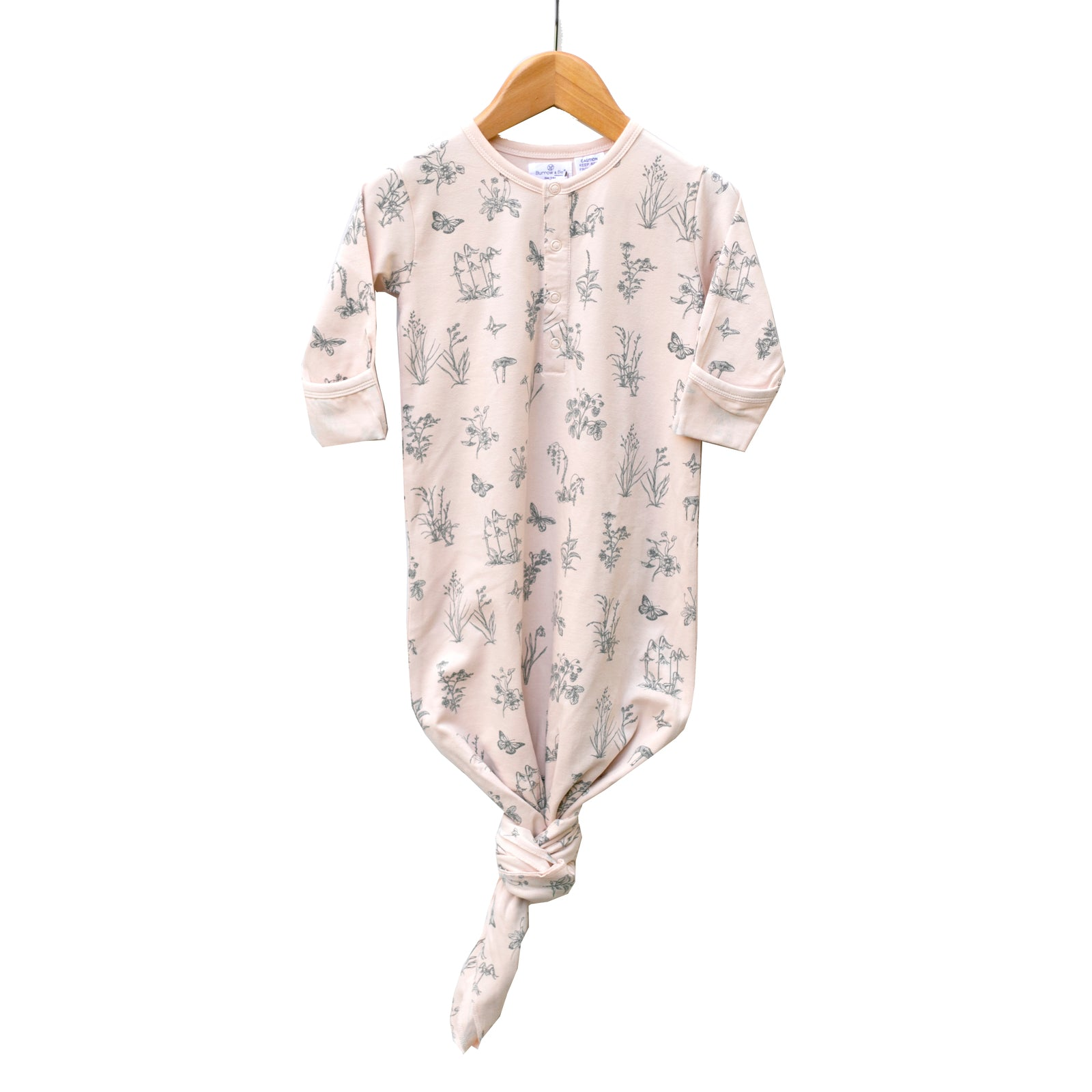 Burrow & Be Baby Sleep Gown - Blush Meadow Print (0-3 months)