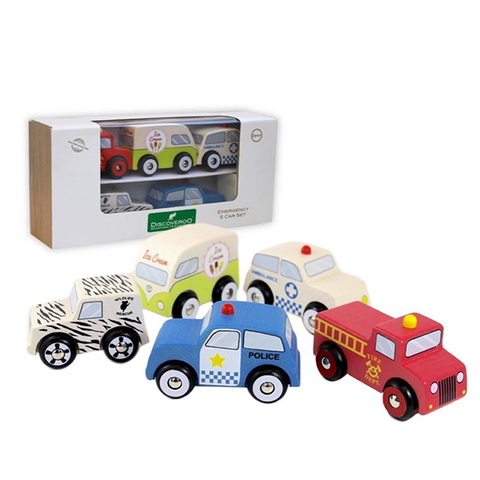 Discoveroo Wooden Emergency 5 Car Set