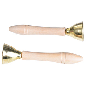 Natural Wooden Hand Bells (Pair)