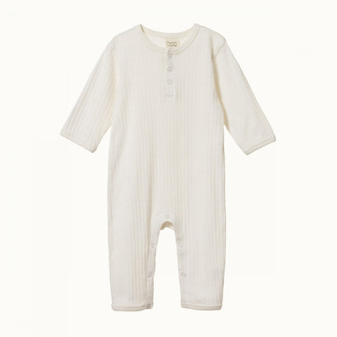 Nature Baby Pointelle Henley Pyjama Suit (0-3 months)