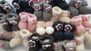 Merino Knitted Flower Booties - 0-3 months