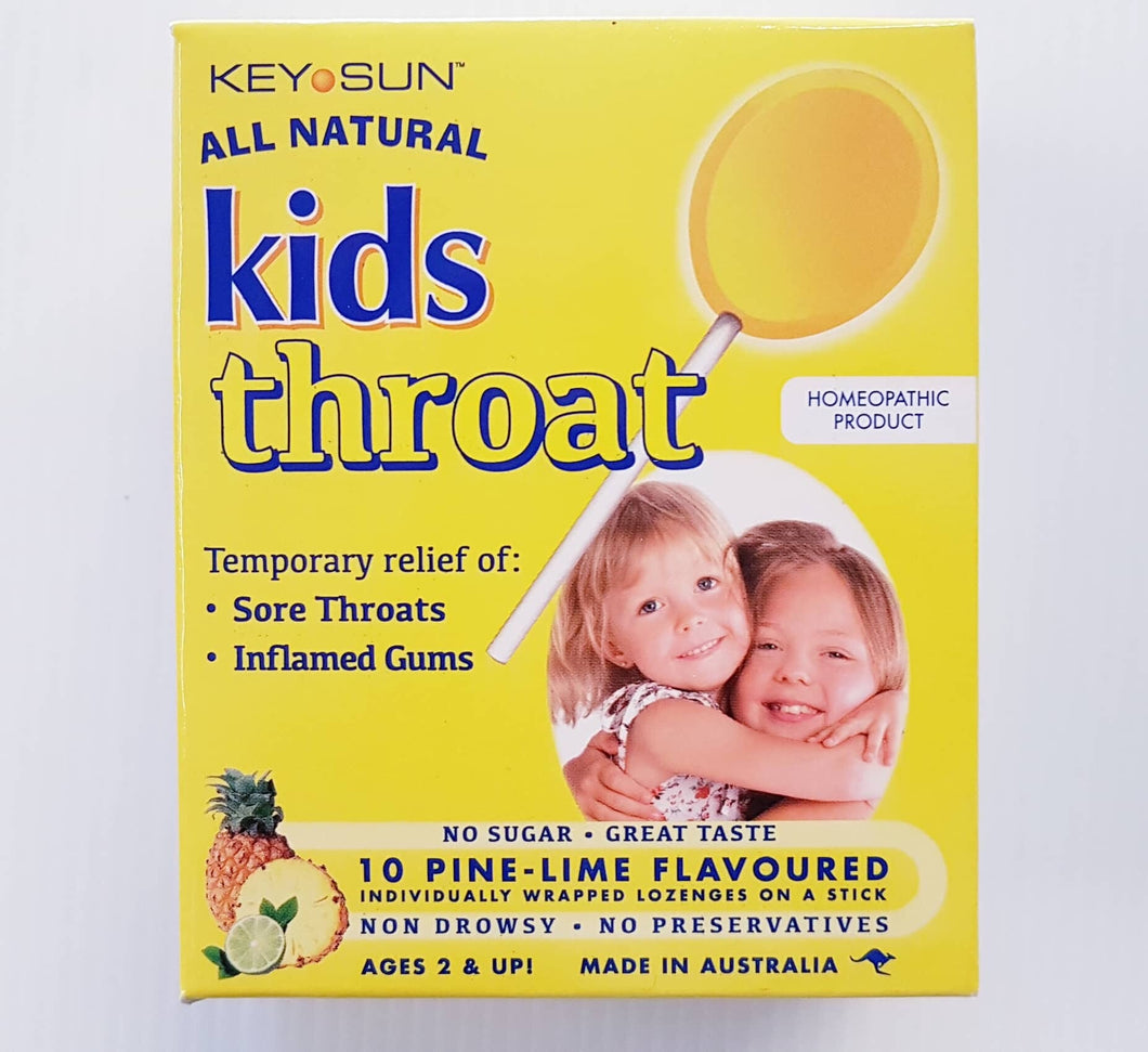 Key Sun Kids Throat Lollipops 10 - Pine-Lime Flavour